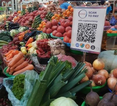 На продуктовом рынке Киева теперь можно рассчитаться криптовалютой